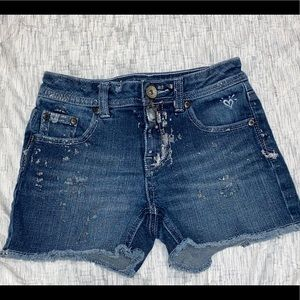 Justice iridescent paint splat denim shorts 12S